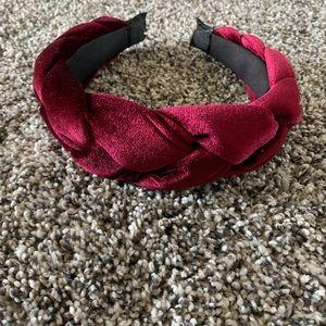 Burgundy velvet braided headband